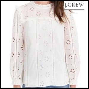 J.Crew Ruffle Neck Long Sleeve Eyelet Top in Ivory